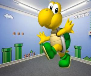 Puzle Koopa Troopa, bipedální želvy jsou nepřátelé ve hře Mario