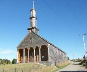 Puzle Kostelů Chiloé, postavená výhradně ze dřeva. Chile.