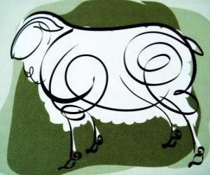 Puzle Kozy, znamení Kozy, kozy rok v čínské astrologii. Osmý Znamení čínského kalendáře