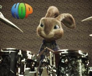 Puzle Králík Hop s paliček dělat hudbu s bicí soupravu