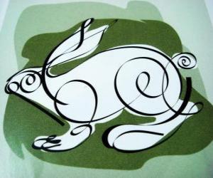 Puzle Králík, zajíc znamení, rok králíka. Čtvrtý zvířat v čínském horoskopu