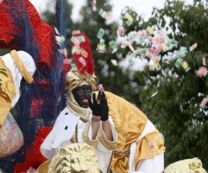 Puzle Král Baltazar v průvodu házeli cukroví