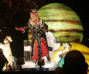 Puzle Král Kašpar v průvodu házeli cukroví