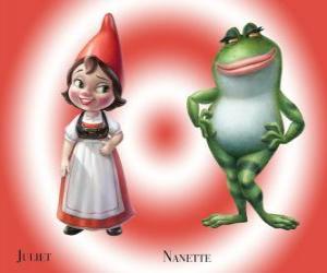 Puzle Krásná Julie, dcera vůdce červené trpaslíky zahrady, s jeho nejlepším přítelem zahradě žáby Nanette