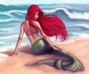 Puzle Krásná mořská panna na břehu