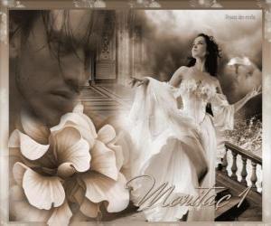 Puzle Krásná princezna se svým milovaným prince myšlenka