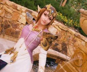 Puzle Krásná princezna Zelda s růží v ruce