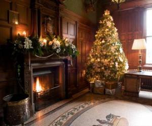 Puzle Krásný ohniště zdobí pro oslavy Vánoc