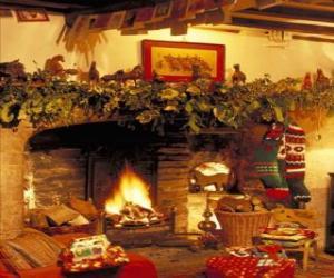 Puzle Krb s ohněm zapálil a vánoční ozdoby