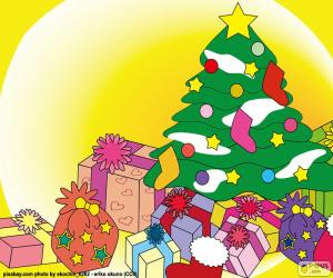 Puzle Kresba, vánoční strom