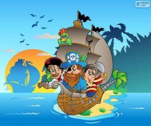 Puzle Kresba z pirátské lodi