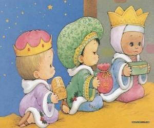 Puzle Kresba ze tří dětí, oblečený jako Tři králové z Orientu