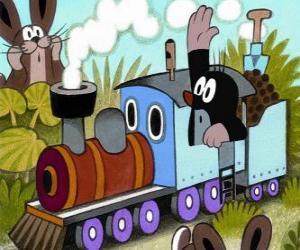 Puzle Krtek v parní lokomotiva
