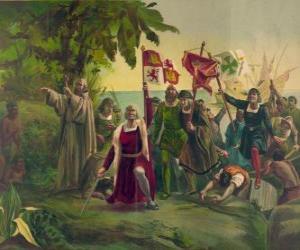 Puzle Kryštof Kolumbus mečem převezme nové země