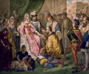 Puzle Kryštof Kolumbus mluvit s královnou Isabel já Kastilie, na dvoře Ferdinanda a Isabella