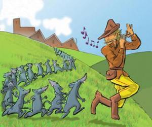 Puzle Krysař z Hameln hrát na flétnu následuje potkanů