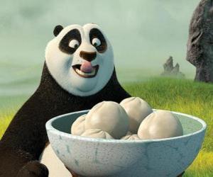 Puzle Kung Fu Panda chce jíst nějaké sušenky z rýže