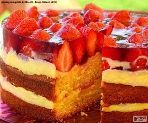 Puzle Lahodný jahodový dort