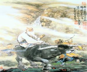 Puzle Lao-c', philosofer starověké Číny, ústřední postava taoismu, jízda na koni buvol