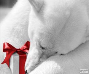 Puzle Lední medvěd s dárkem