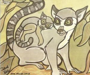 Puzle Lemur s dítětem. Kresba Julieta Vitalij