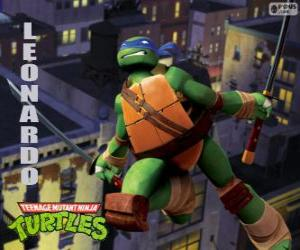 Puzle Leonardo, ninja želva útočí katanas