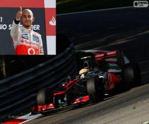 Puzle Lewis Hamilton slaví vítězství v Grand Prix Itálie 2012