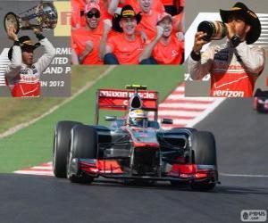 Puzle Lewis Hamilton slaví vítězství v Grand Prix USA 2012