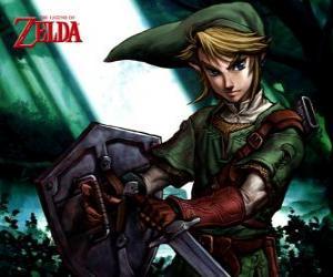 Puzle Link s mečem a štítem v dobrodružství The Legend of Zelda videohry