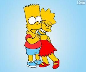 Puzle Lisa a Bart objímali jako dobrý bratři