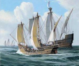 Puzle Lodě první výpravy Columbuse byla loď Santa Maria, a caravels, Pinta a Nina