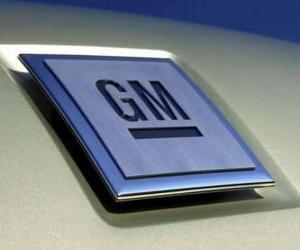 Puzle Logo GM nebo General Motors. Vůz značky v USA