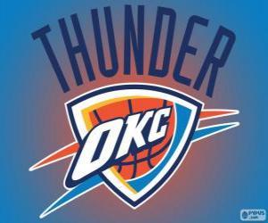 Puzle Logo Oklahoma City Thunder, NBA tým. Severozápadní Divize, Západní konference