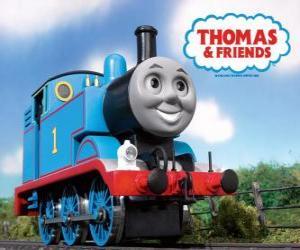 Puzle Lokomotiva Tomáš je parní lokomotiva s číslem 1