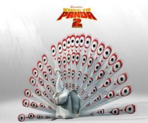 Puzle Lord Shen, albín páva je hlavní nepřítel v dobrodružství z filmu Kung Fu Panda 2