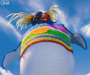 Puzle Lovelace, zvláštní tučňáka s barevným vlny svetr, Happy Feet 2
