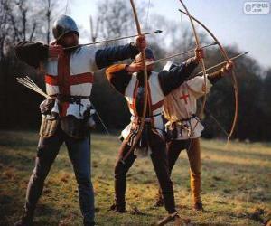 Puzle Lukostřelci, středověká vojáků vyzbrojených lukem