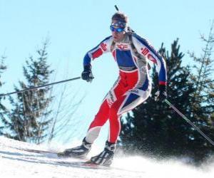 Puzle Lyžař v plné úsilí v praxi běžky nebo severské lyžování
