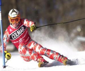 Puzle Lyžař ve slalomu