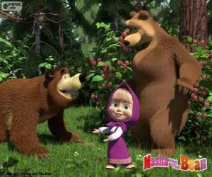Puzle Máša s dvěma medvědy