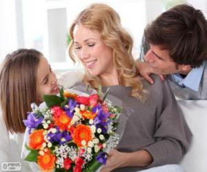 Puzle Máma příjem kytice