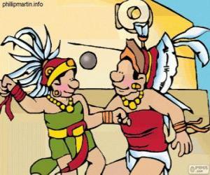 Puzle Míčová hra byla mayské rituály, hráči se snaží přihrát míč přes prsten kamene