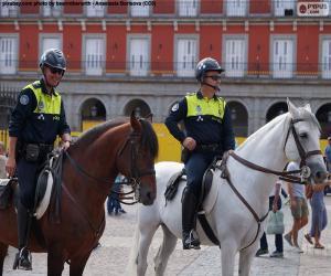 Puzle Městská policie na koních, Madrid