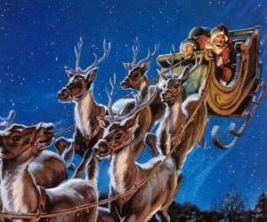 Puzle Magie sobů tahání Santovy saně o Štědrém večeru