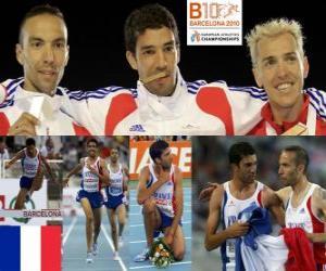 Puzle Mahiedine Mekhissi-Benabbes 3000 m steeplechase šampion, Bouabdellah Tahri a Jose Luis Blanco (2. a 3.) z Mistrovství Evropy v atletice Barcelona 2010