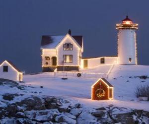 Puzle Maják a majáku je dům s vánoční dekorace