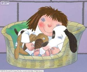Puzle Malá princezna, spíš se psem Zátylek a její medvídek