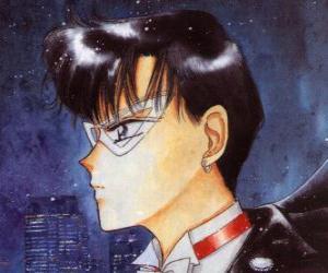 Puzle Mamorou Chiba se stane hrdinou Tuxedo maska, maskovaný muž, oblečený v ocasy