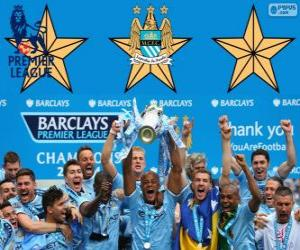 Puzle Manchester City, šampiona Premier League 2013-2014, England Football League