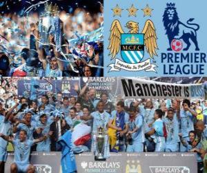 Puzle Manchester City, vítěz Premier League 2011-2012, fotbalové ligy z Anglie